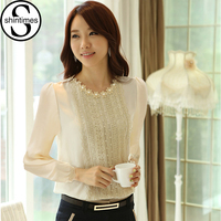 Long Sleeve Lace Blouse 2015 New Fashion Women Dress Lantern Sleeve Round Neck Shirt Leisure Women