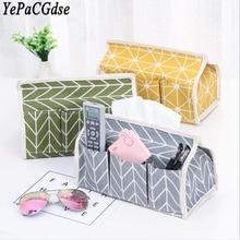 Cotton and linen art tissue box rural style multi-functional thin cover desktop debris storage