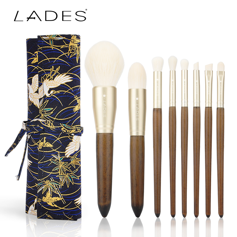 LADES Make Up Brushes 8pcs Brush Set Professional Soft Synthetic Hair Brushes Beauty Cosmetics Makeup Brushes With Canvas Case hot 12v 50a 600w 100 264v electronic transformer high quality safy led current driver for led strip 3528 5050 power supply