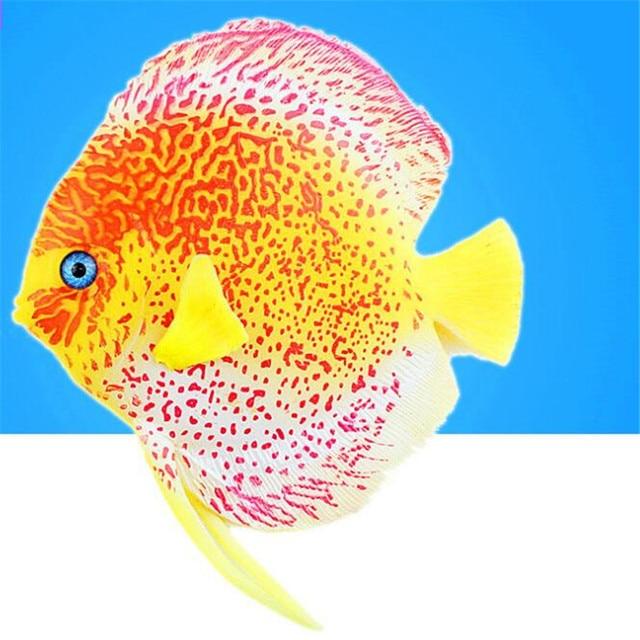New Silicone Discus Fish Tropical Fish Aquarium Decoration Glowing Style Angelfish Aquatic ...