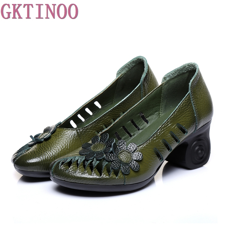 GKTINOO Summer Autumn 2018 Ethnic Style Genuine Leather Handmade Shoes Women Round Toe Pumps Hollow Flower High Heels 2017 women thick heels sandals closed toe flower ethnic style handmade genuine leather personalized women sandal