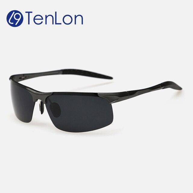 TenLon Glasses Men goggle polarized sun glasses oculos de sol masculino Al-Mg Alloy Ultralight frame  sunglasses men 8177