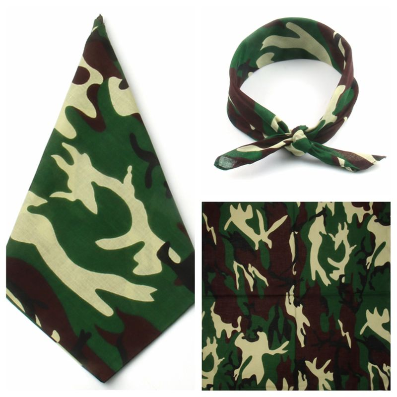 Military Tactical Camouflage Print Unisex Cotton Pocket Square Scarf Outdoor Cycling Headband Bandana Hip-Hop Wristband Neck Tie