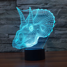 3D Atmosphere lamp 7 Color Changing Visual illusion LED Decor Lamp Triceratops Dinosaur Home Table Decoration for Child Gift