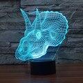 Ilusión Visual 3D Atmósfera lámpara 7 Que Cambia de Color LED Decoración Lámpara Triceratops Dinosaurio Casa Decoración de La Mesa para el Regalo Del Niño
