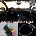 Para Peugeot 607 1999-2012 Car Interior Painel de Luz Ambiente iluminação Para Dentro Do Carro Tuning Cool Strip Luz Óptica fibra de Banda