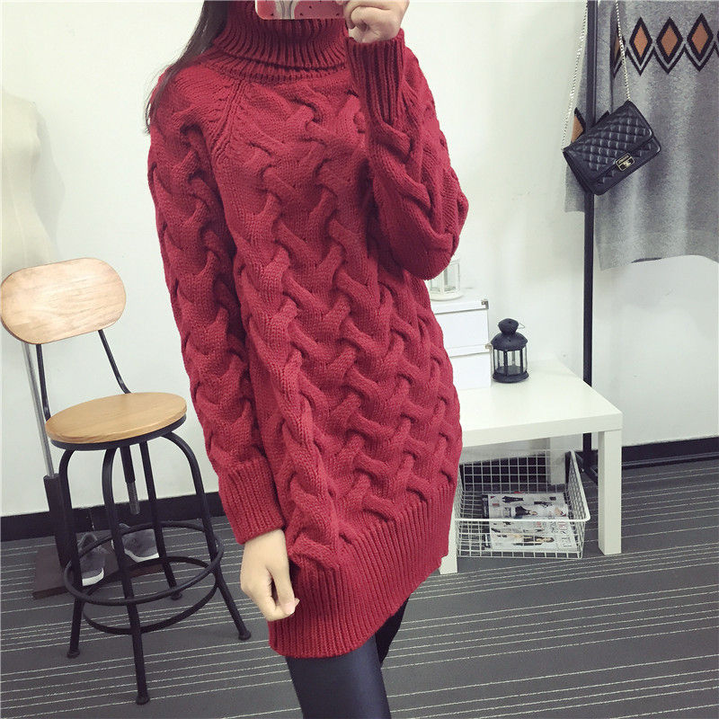 wine Turtleneck Long Korean Thick Knitted Sweaters Fashion white 2019 Red My29 Ladies Women Pullovers Winter Casual Black n8Txnwg