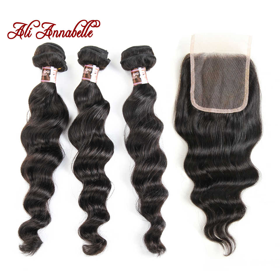 Ali Annabelle Hair Loose Wave Bundles With Closure 100% Peruvian Remy Hair Extensions 3   Bundles With Lace Closure