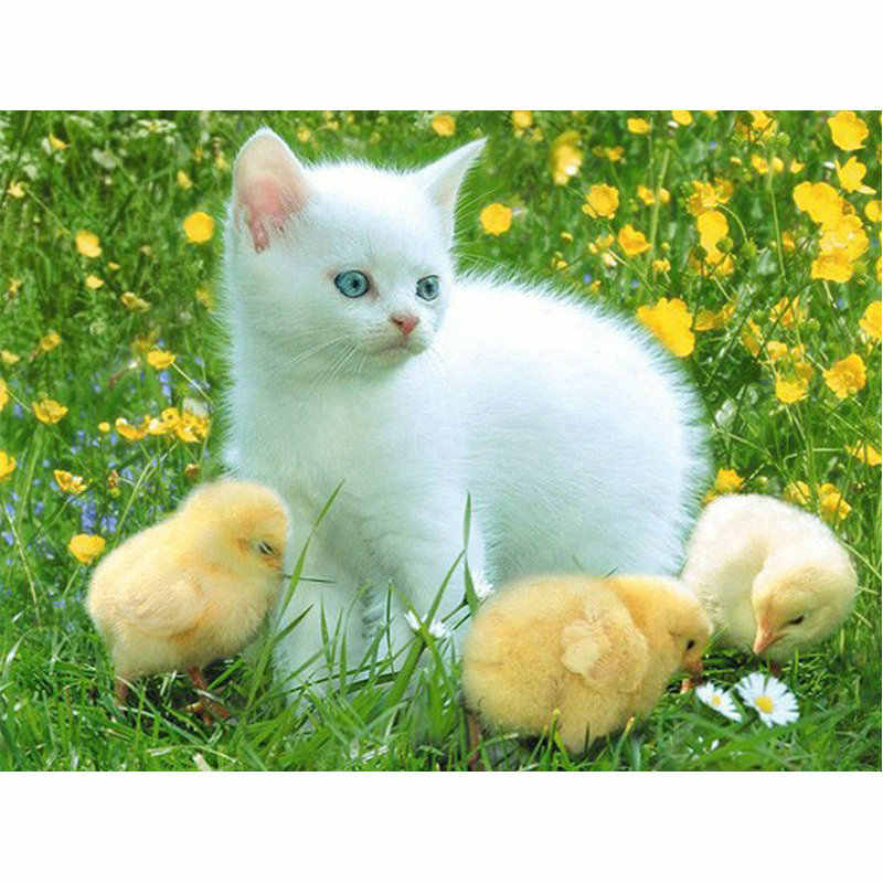 DIY Diamond Painting cross stitch picture 5D Diamond Embroidery white cat and Baby chicken Full Square Mosaic rhinestones