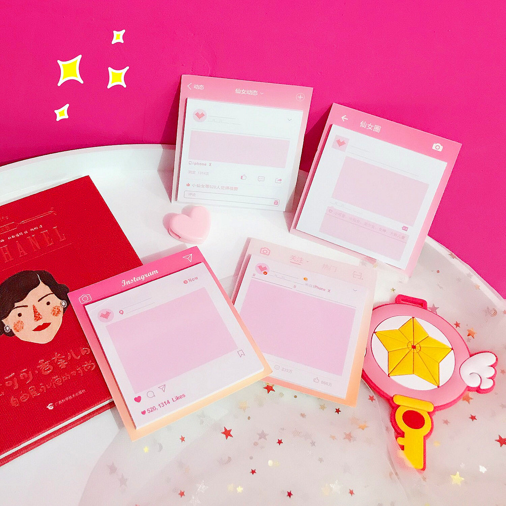 Ins Pink Love Heart Self-Adhesive Memo Pad Sticky Notes Bookmark School Office Supply