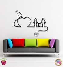 Hospital Clinic Vinyl Wall Decal Hospital Doctors Family Heart Health Mural Art Wall Decorative decoration Wall Sticker For Room cheap colorful purple pink green echoscope portable hoshcare s7 dual heads stethoscope for family emergency clinic hospital