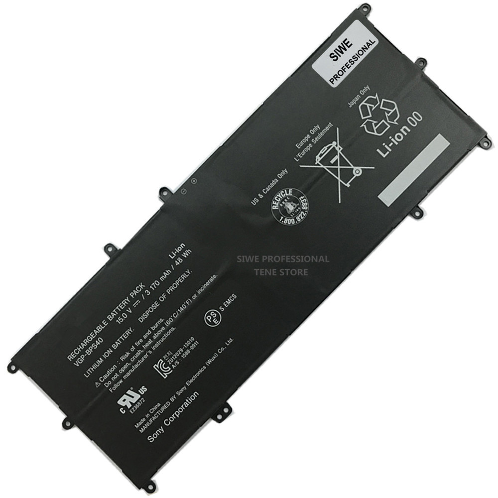 3170mAh Original VGP-BPS40 Laptop Battery New BPS40 Battery for SONY VAIO Fit 14A 15A SVF15N18PXB SVF15N28PXB VGP-BPS40 Battery new original 11 25v 3140mah 36wh vgp bps41 battery for sony vaio flip 13 svf13n svf13n13cxb free shipping