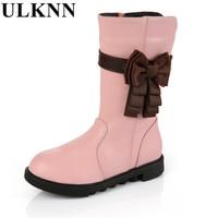 ULKNN Girls Winter High Boots Children S Cow Split Boots For Children Baby Bowknot Shoes Winter
