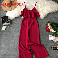 ALPHALMODA 2019 Summer Ladies Fashion Jumpsuits Ruffled Strapless Shoulder High Waist Wide leg Chic Women Rompers