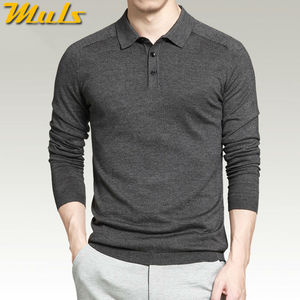 Image 2 - 8 色メンズポロセーターシンプルなスタイルの綿ニット長袖プルオーバービッグサイズ 3XL 4XL 春秋 Muls ブランド MS16005