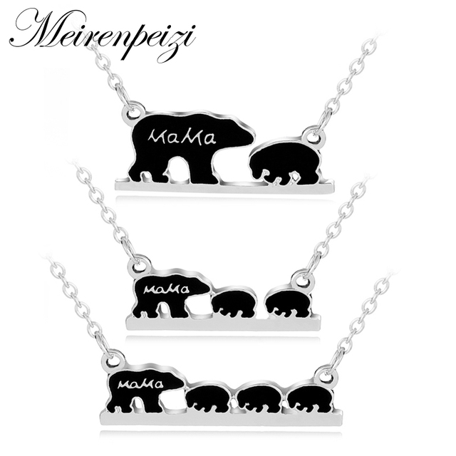 Mama Bear EnamelAnimal Pendant Necklace Silver Mother Kids Love Necklace Simple Fashion Mom and Children Christmas Jewelry Gift
