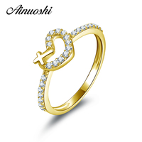 AINUOSHI 14K Gold Cute Cross Heart Halo Ring Pure 14K Yellow Gold Micro Pave Sona Diamond Wedding Engagement Ring for Women