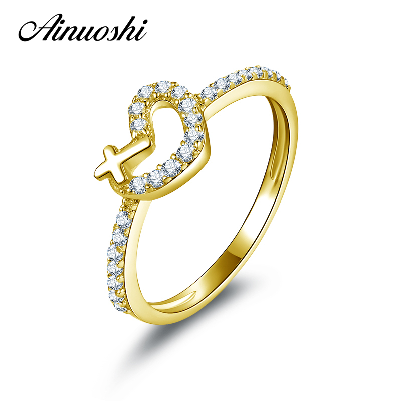 AINUOSHI Cute Lovers Cross Heart Shaped Gold Ring 10K Pure Yellow Gold Never Fade Engagement Ring for Women Wedding Ring Bands new pure au750 rose gold love ring lucky cute letter ring 1 13 1 23g hot sale