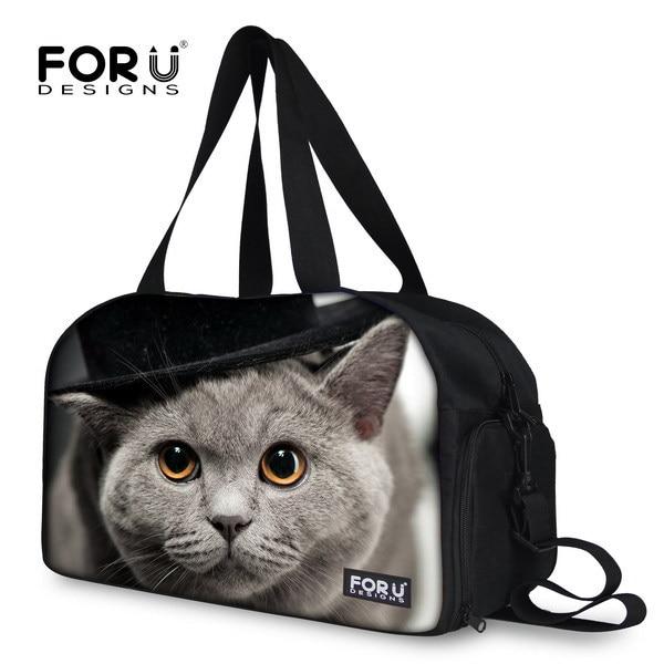 GREY CAT PUG printing men luggage travel bag portable travel duffle bags large capacity male travelling  mochila FORUDESIGNS