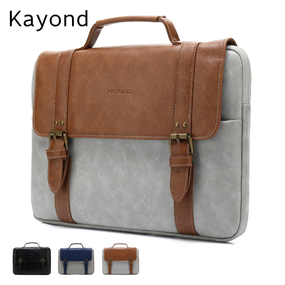 2018 Newest Brand Kayond Leather Handbag Bag For Laptop 13,14,15,15.6 inch,Case For MacBook Air,Pro 13.3,15.4,Free Shipping fast free shipping laptop backpacks 13 14 15 15 6 inch free gift keyboard cover for macbook pro 13 3 15 4 black laptop bag case