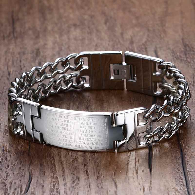 XUANPAI Engraved Bible Cross 18mm Chunky Bracelet for Men Stainless Steel Double Link Chain Religion Christ Male Jewelry