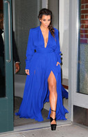 High Quality Cheap evening prom gown Plunging Deep V Neck Royal Blue Kim kardashian Long Sleeve Mother of the Bride Dresses