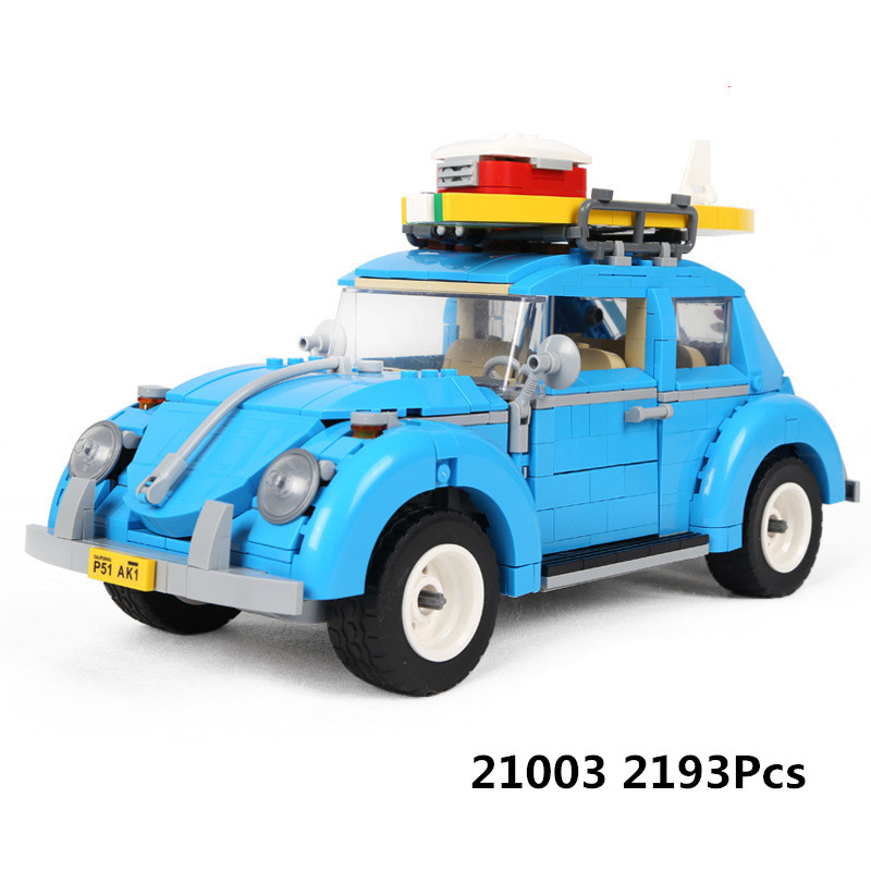 New LEPIN 21003 1193Pcs Creator Series City Car Beetle model Building Blocks Compatible 10252 Blue Technic children toy gift 2018 lepin 21003 technic series city car beetle model educational building blocks compatible legoing 10252 toy as children gift