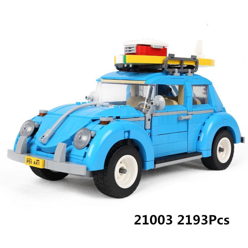 New LEPIN 21003 1193Pcs Creator Series City Car Beetle model Building Blocks Compatible 10252 Blue Technic children toy gift