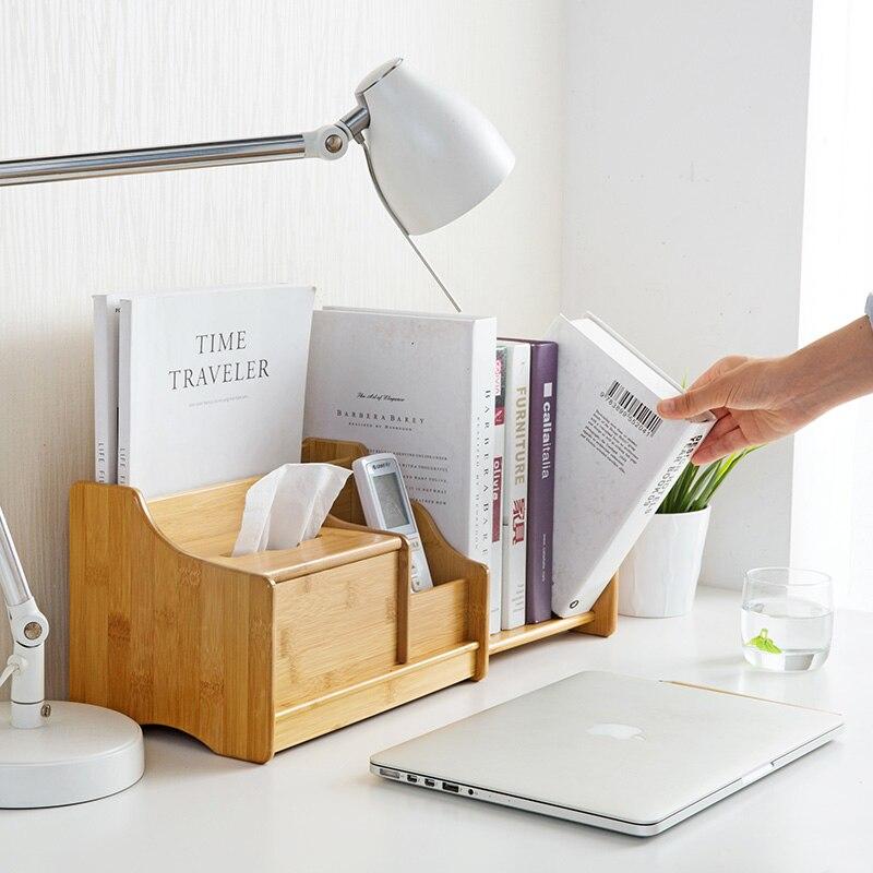 Boîte de rangement de bureau en bambou livres rétractables étagère de bureau bureau papeterie télécommande support de stockage pour papier de soie/livre/stylo