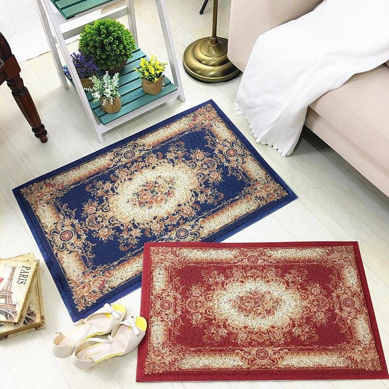 Us 22 41 10 Off European Printed Pvc Silk Loop Dust Proof Doormat Home Decorative Floor Rug High Grade Thickening Elastic Yarn Non Slip Blue In