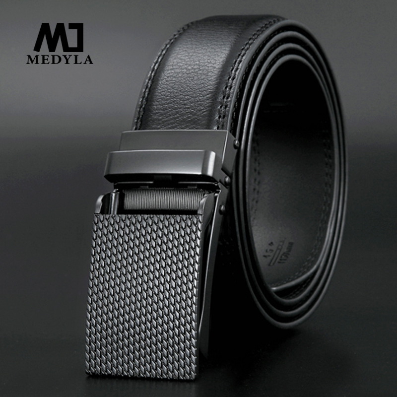 MEDYLA Classical Automatic Buckle 100% Good Quality Cowskin Genuine Luxury Leather Men's   Belts   110-130cm Luxury   Belts   3.0 width