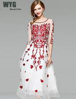 High Quality Red Floral Embroidery White Mesh Boho 2017 Summer Diamond Hollow Out See Through Elegant Women Hollow Dresses