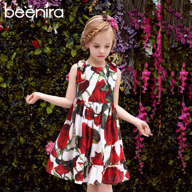 Beenira Girls Dresses Kids Clothes 2017 Brand Girls Sleeveless Rose Dresses Floral Printed Princess Dress for Children 4-14 Y 2018 new cotton printed rose dresses