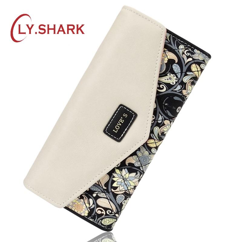 LY.SHARK محفظة طويلة لحامل بطاقة الائتمان الطباعة الأزهار جلد محفظة المرأة المحفظة ومحفظة الإناث عملة محفظة المرأة مخلب