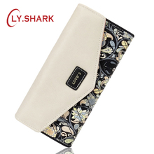 LY.SHARK Long Wallet For Credit Card Holder Floral Printing Leather Wallet Women Wallet And Purse Female Coin Purse Women Clutch