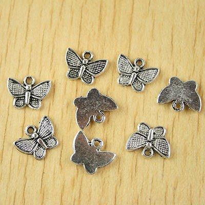 80pcs Tibetan silver butterfly charms H2390