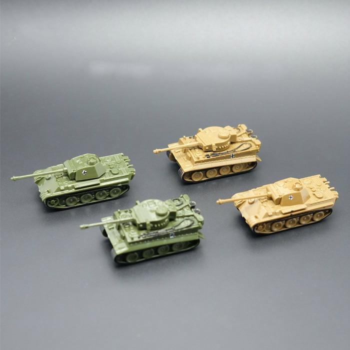 4PCS/Set Assembled Plastic Tiger Tanks World War II Germany US The Soviet Union Tank 1:144 Scale Blocks Model Toy Mini Tank