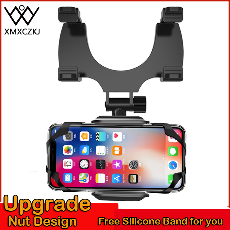 XMXCZKJ phone car holder Car Rearview Mirror Mount Phone Holder 360 Rotate For iPhone XR Silicone Stand Universal soporte movil