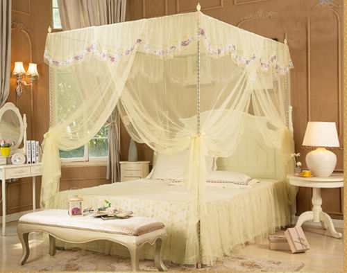 Light Yellow Beige Luxury Lace Four Corner Post Bed Canopy Mosquito Netting No Frame