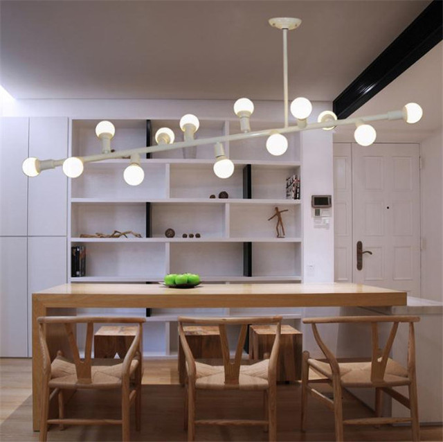 Scandinavian Modern Dining Room Chandelier Kitchen Restaurant Living Hanging Lights Irregular DNA Molecule Iron Metal