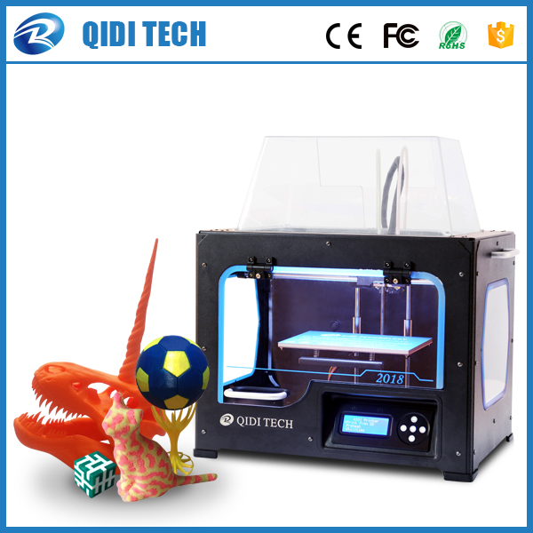 2018 Newest High Quality QIDI TECH I Dual extruder 3D Printer with upgraded 7.8 version motherboard W/2 free ABS PLA filaments double color m6 3d printer 2017 high quality dual extruder full metal printers 3d with free pla filaments 1set gift