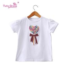 Футболки для девочек Лето г. футболка с коротким рукавом мультфильм маленькие девочки топы Летняя Детская футболка с круглым вырезом хлопок одежда для малышей