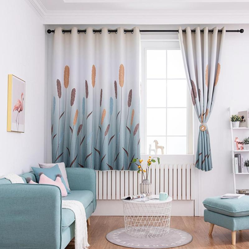 Grey/Purple Reed Print Polyester Window Blinds Living Room Drapes Bedroom Living Room Blackout Curtains for Windows Home Textile(China)
