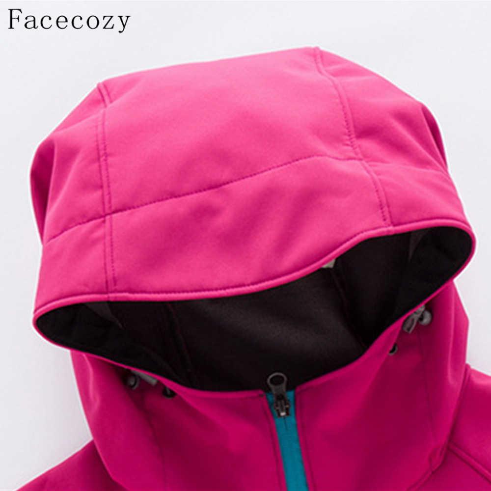 Facecozy 女性 & 男性秋冬アウトドアスポーツソフトシェルジャケットカップル防風インナーフリースハイキングキャンプコート服
