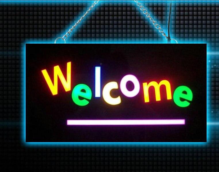 Водонепроницаемый Добро Пожаловать неоновая вывеска для бара магазин <font><b>LED</b></font> Эпоксидной Смолы световой короб для украшения дома Дистанционного&#8230;