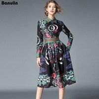 Banulin New 2018 Fashion Runway Designer Summer Dress Women's Elegant Party Turndown Collar Floral Print Pleated Vintage Dress