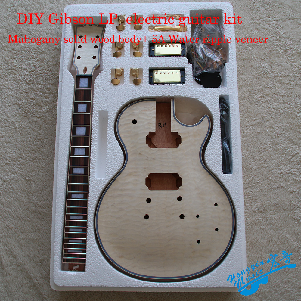 DIY LP Style Electric Guitar Kit 0.6mm 5A White Water Ripple Veneer African Mahogany Okoman Body Neck Rosewood Fingerboard
