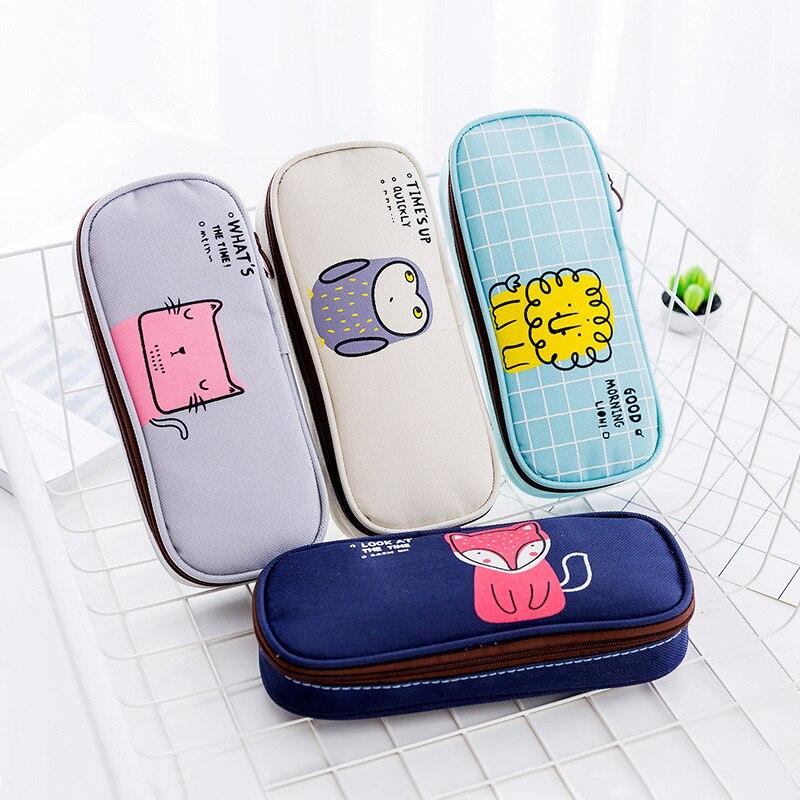 Kawaii Good Morning Party Zipper Pencil Bag Cute Owl Cat Pen Case Stationery Storage Simple Organizer Box School Office Supply