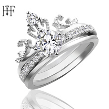 Silver Color Luxury 3 Rounds Princess Crown Rings for women AAA cubic zirconia Fashion Wedding Ring Crown Ring Set Anel