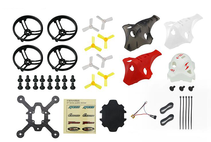 Kingkong ET V2 ET100 ET115 ET125 Frame Kit w/ LED Buzzer Canopy Frame Board 4Pairs Propeller Prop Guard For RC Model Plane DIY